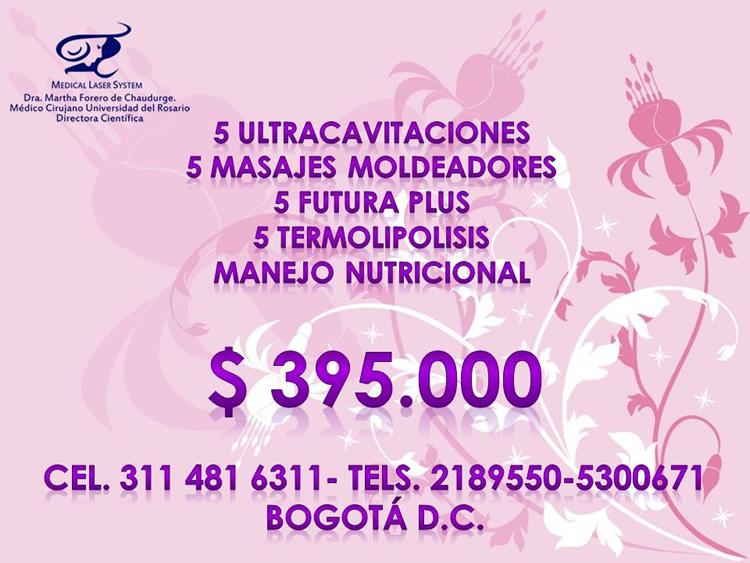 Promoción, oferta, descuento. Ultracavitaciones, masajes moldeadores, Futura Plus, termolipólisis, manejo nutricional.